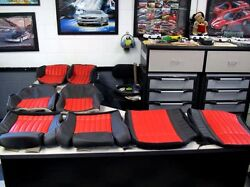 1985 1992 Pont Trans Am Gta Lumbar Style Seat Covers In Black W/red Inserts
