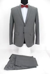 Theory 2btn Menandrsquos Suit Gray Taupe Stripe Virgin Wool Side Vents Flat Front 38