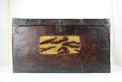 An Original 18th Century Tibetan Leather Wood Trunk Chest With Fur