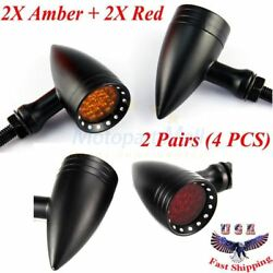 2X Amber & Red Universal Motorcycle Turn Signal Bullet Lights Blinker Tail Light