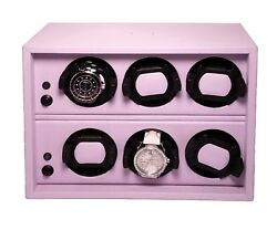 Scatola Del Tempo Watch Winder - Cornice 6rt Os Lilac Leather, Made In Italy