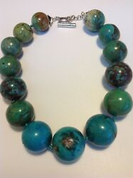 Antique Chinese Turquoise Natural Beads Necklace Original Silver Jewelry M1653