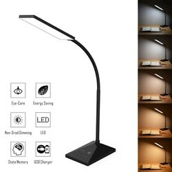 Dimmable Led Desk Lamp Touch With Usb Charging Port 7 Brightness Levels Black Us