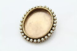 Antique Edwardian Fine Frame Pendant Brooch With Pearl Border In 14k Yellow Gold