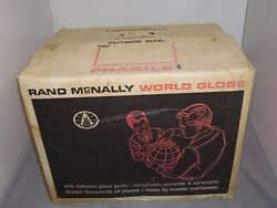 Vintage Rand Mcnally World Portrait Globe /with Original Box By Case Tractor