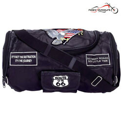MOTORCYCLE GENUINE LEATHER SISSY BAR BARREL BAG w USA FLAG PATCHES FOR YAMAHA