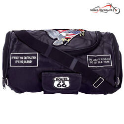 MOTORCYCLE GENUINE LEATHER SISSY BAR BARREL BAG w USA FLAG PATCHES FOR HONDA