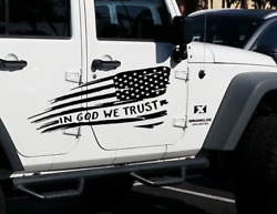 In God We Trust - Flag Graphic Decal Side Body Fits Jeep Wrangler Usa Jku Wf48