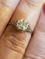 Platinum Rose Cut .76 Ct Diamond Solitaire Ring, Vs2 Clarity Appraisal Included