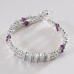 Gift For Mum Motherand039s Bracelet With Two Childrenand039s Names On Two Strands.