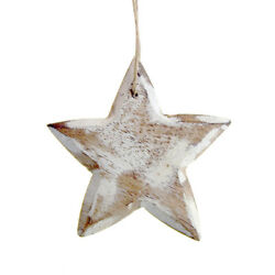 Hanging Wooden Star Christmas Tree Ornament, White, 3-1/2-inch