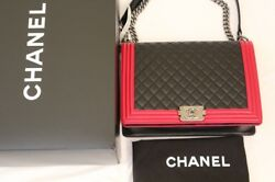 CHANEL LARGE LAMBSKIN BOY BAG -BLACK  FUCHSIA RED RIM - LE- SHIP OUT FAST!