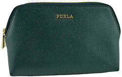 $250 FURLA Green Leather ISABELLE Cosmetic Pouch Travel Case Bag NEW COLLECTION