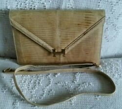 Hermes Lydie Lizard Clutch Exotic BAG HANDBAG PURSE WITH Strap 70S RARE VINTAGE