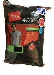 4 pack hanes mens pocket t shirt choose your size & color $18.99