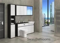Hacienda / White Gloss Bathroom Fitted Furniture With Wall Units 1950mm