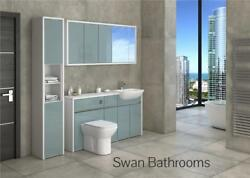 White / Metallic Blue Gloss Bathroom Fitted Furniture With Wall Units 1950mm