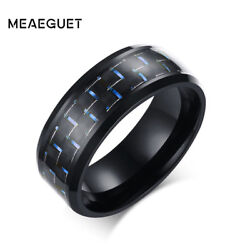 Meaeguet Jewelry Simple Blue/black Carbon Fiber Inlay Ring For Men Stainless