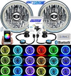 5-3/4 Bluetooth Cell Phone Smd Color Change Halo Angel Eye Led Headlights Pair