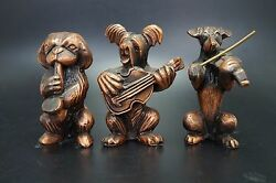 VTG Metal Dog Band SKYE TERRIER Fox PEKINGESE Dog Violin Saxophone Guitar