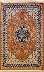 Rugstc 3x5 Pak Persian Orange Area Rug, Hand-knotted,floral With Silk/wool Pile