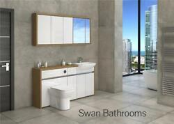 Oak / White Gloss Bathroom Fitted Furniture With Wall Units 1650mm