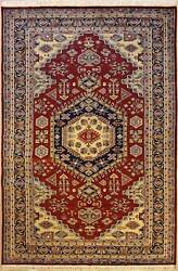 Rugstc 6x9 Pak Persian Red Area Rug Hand-knottedmedallion With Silk/wool Pile