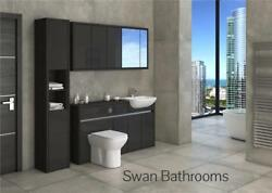 Hacienda / Anthracite Gloss Bathroom Fitted Furniture With Wall Units 1950mm