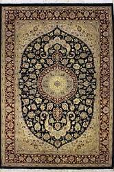 Rugstc 5x8 Senneh Pak Persian Blue Area Rug Hand-knottedfloral With Wool Pile