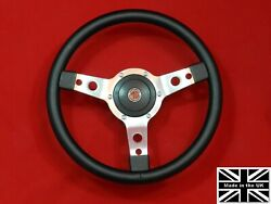 13 Classic Leather Steering Wheel And Hub. Fits Mgb Gt 1976 And Later