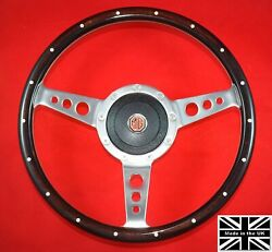 13 Riveted Wood Steering Wheel And Hub. Fits Mg Gt Late 69, 69