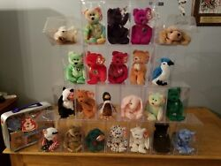 Beanie Babies, 24, in cases, and tag protectors- Princess Diane, Peace