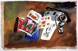 Still Life With Glasses. Watercolor On Paper. Signed Jean Pougny. France. 1927