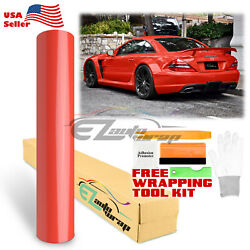 Premium Gloss Glossy Red Car Vinyl Wrap Sticker Decal Air Release Bubble Free