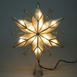 Capiz Star with Scroll Gold Christmas Tree Topper Warm White  11-Inch