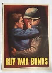 Authentic Wwii Poster -- Soldier And Wife Embracing -- Buy War Bonds