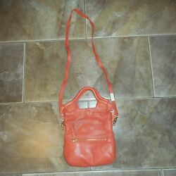 FOLEY CORINNA Coral Pink With Dust Bag Fringe Zippered Leather Soft Crossbody $99.97
