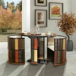 European Style Wood Hand Painted Library Table With Chairs 30 Ensemble