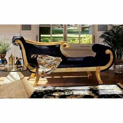 Egyptian Quin Cleopatra Antique Replica Golden Hand Carved Mahogany Chaise