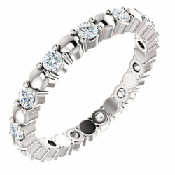 Size 5 - 3/8 Ctw Diamond Eternity Band 14k White Gold Stackable Ring New Item