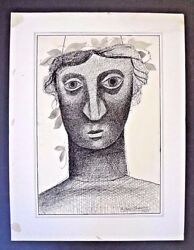 Early And Rare Byron Browne 1937 Signed Pen-and-ink Drawing Inv2709