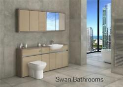 Driftwood / Cappuccino Gloss Bathroom Fitted Furniture With Wall Units 1950mm