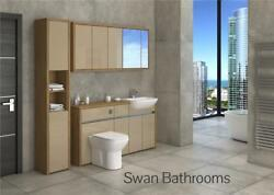 Oak / Cappuccino Gloss Bathroom Fitted Furniture With Wall Units 1900mm