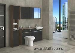 Driftwood / Anthracite Gloss Bathroom Fitted Furniture With Wall Units 1950mm