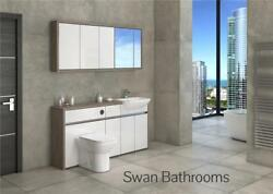 Driftwood / White Gloss Bathroom Fitted Furniture With Wall Units 1650mm