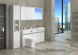 White / White Gloss Bathroom Fitted Furniture With Wall Units 1950mm
