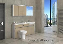 White / Cappuccino Gloss Bathroom Fitted Furniture With Wall Units 1650mm