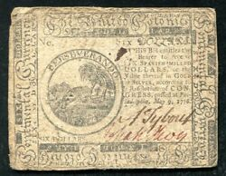 Cc-36 May 9 1776 6 Six Dollars Continental Currency Note