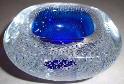 Beautiful Vintage Murano Glass Controlled Bubble Blue Geode Bowl/ashtray