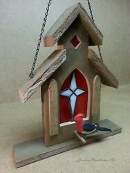Barn Board And Stained Glass Church Birdhouse Hangs Or Stands